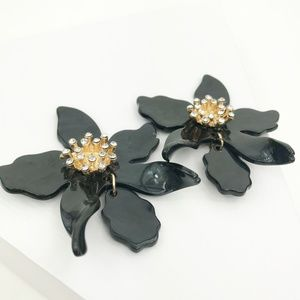 CLOSET REHAB Jewelry - Crystal Lily Drop Earrings in Black
